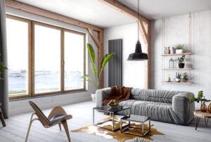 Modernes Wohnzimmer mit pflegeleichten Kunststofffenster in Holzoptik