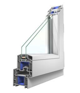 Systemecke 70 mm weiß Nebeneingangstür